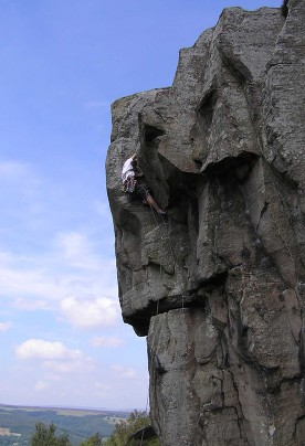 John climbing Maupassant, Curbar