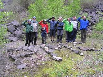 Club members on a wet weekend in Tintern Quarry, Wye Valley